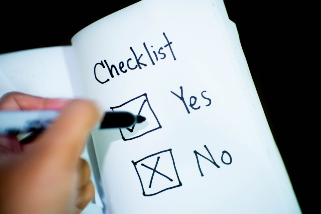 checklist yes no investment option