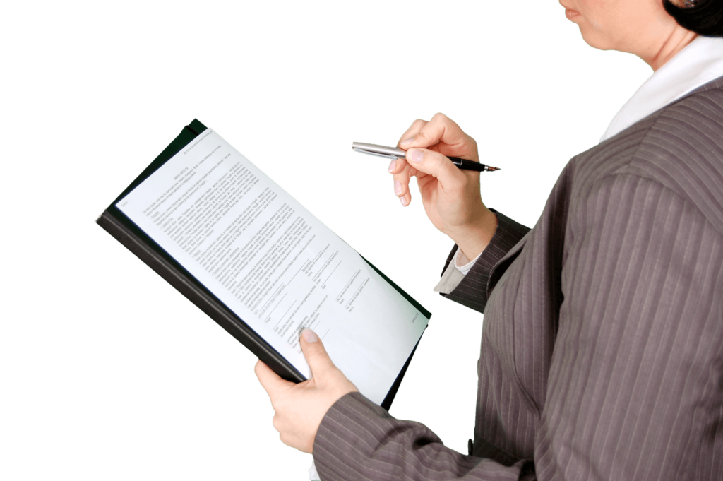 legal documents and woman