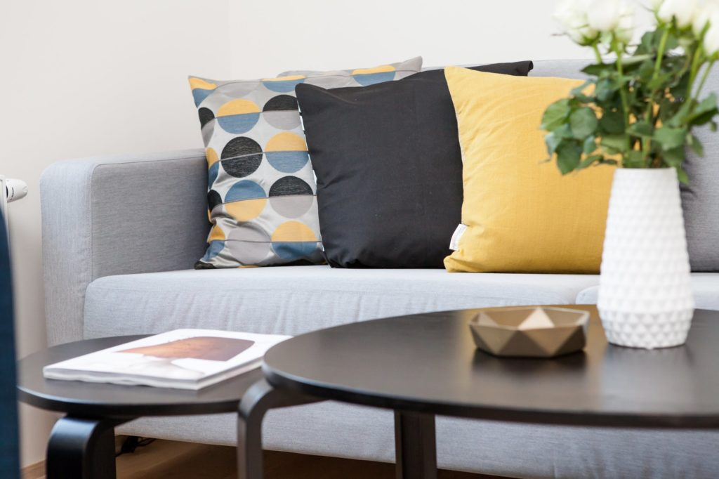 home table couch with cushions