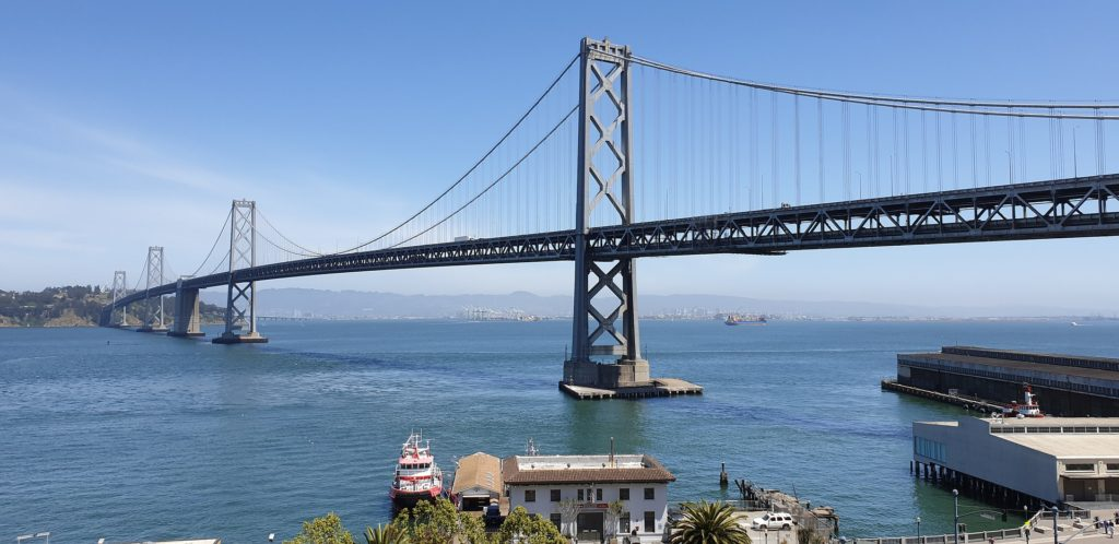 Bay bridge with blue sky